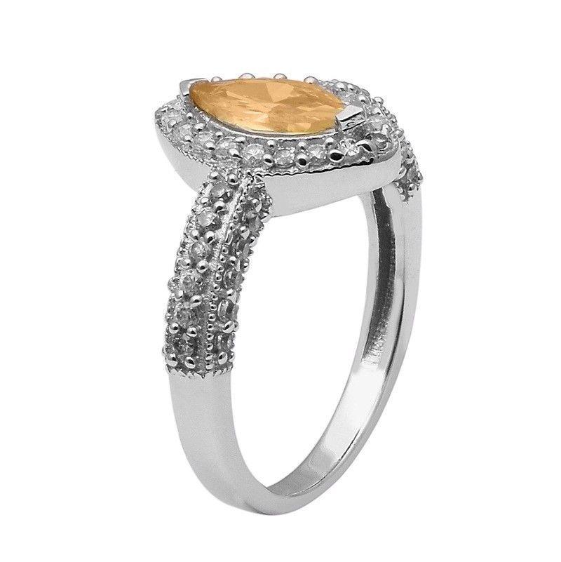 Yellow Cz & White Topaz 925 Sterling Silver Ring Shine Jewelry Size-9.5 SHRI1412