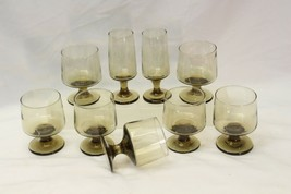 Goblets Brown Smoked Glass Pedestal Lot of 9 - $39.19