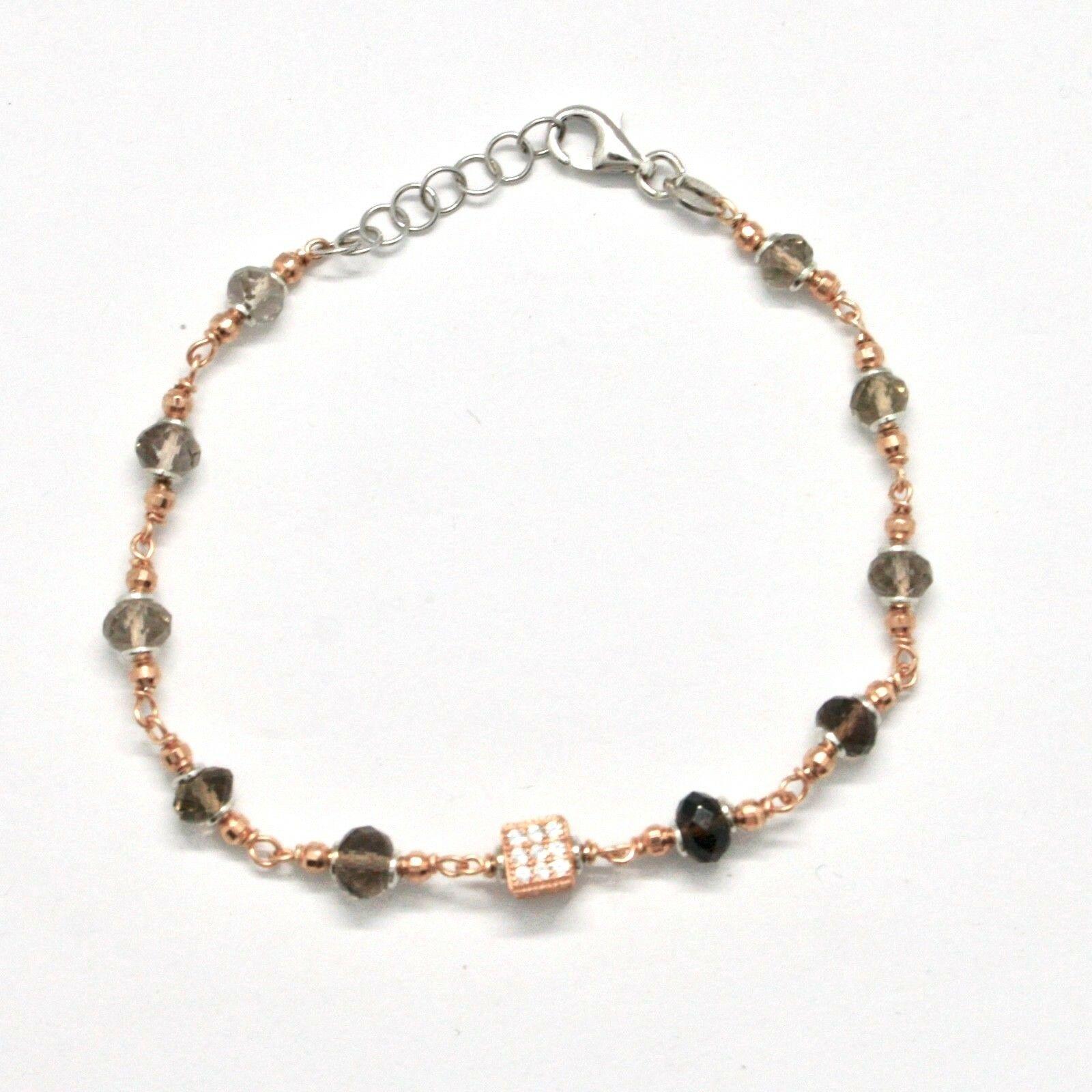 Silber Armband 925 Laminat aus Gold Pink mit Quarz Rauch und Zirkonia Kubische