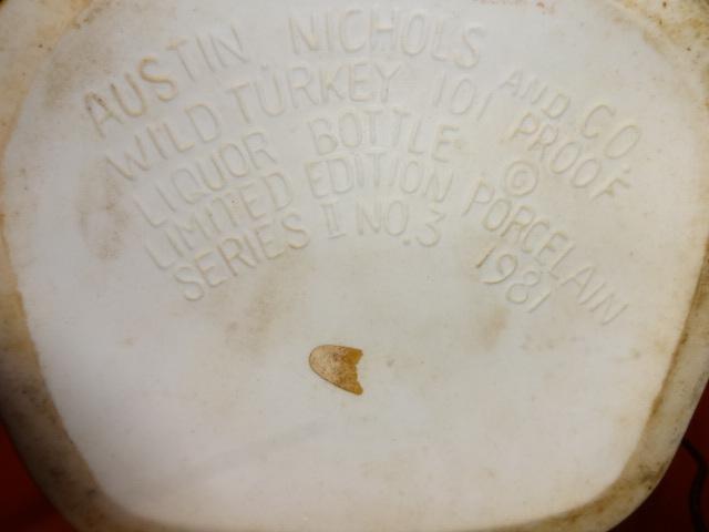 Austin Nichols & Co WILD TURKEY porcelain decanter EMPTY company