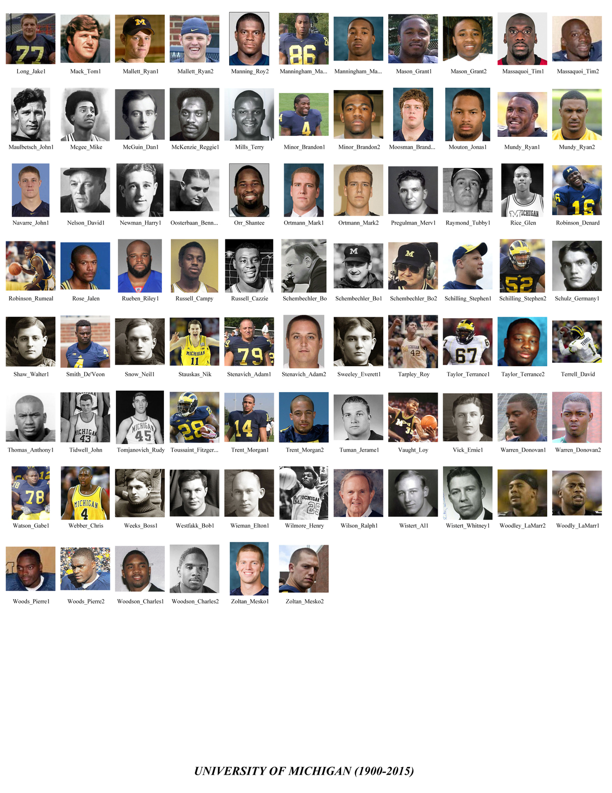 University of Michigan Mosaic Print Art Created Using Past and Present Players.