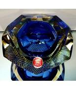 LUIGI MANDRUZZATO SOMMERSO MURANO Blue Yellow Facet Bowl w Texture Botto... - $251.74