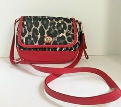 Coach Crossbody Bag F24103 Park Ocelot Leather Fabric Red Black  B2F - $118.12 CAD