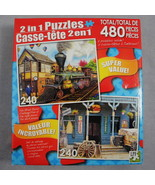LPF 2 in 1 Puzzles All Aboard Train Station Old Western Style Saloon 240... - $2.99