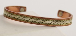 VINTAGE Jewelry MIXED METAL MAGNETIC THERAPY CUFF FOR ARTHRITIS COPPER + - $20.00