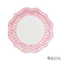 Light Pink Chevron Scalloped Dinner Plates - $3.86