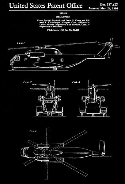 Primary image for 1964 - United Aircraft Helicopter - E. S. Stratford - Patent Art Poster
