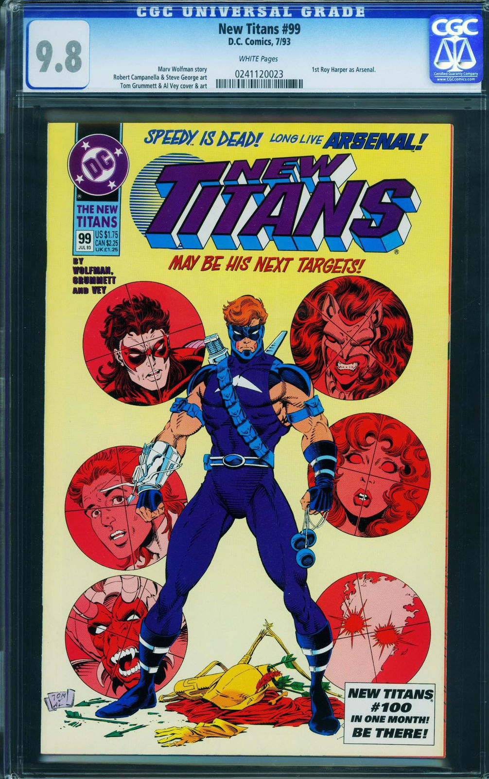 Primary image for New Titans #99- CGC 9.8-first Arsenal-key Issue-nightwing- 0241120023