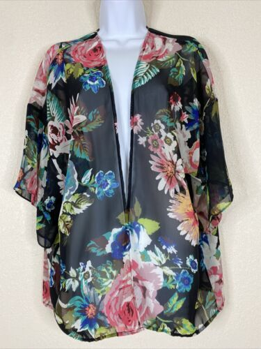 Primary image for Bobeau Womens Size M Black Floral Shrug Cardigan Short Sleeve Open Front