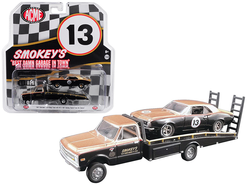 1967 Chevrolet C30 Ramp Truck with 1967 Chevrolet Camaro Trans Am #13 Gold and B