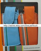 DENALI 2pc Case for MOST SMALL SIZE PHONES Blue+Orange CANVAS SLEEVES+BA... - $5.93