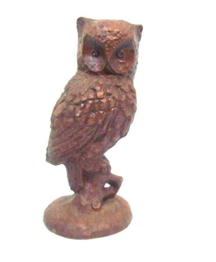Red Mill Manufacturing Owl Figurine Pecan Shell Statue 5 inch Tall Folk Art