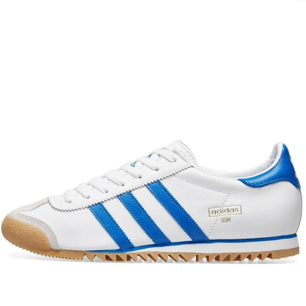 Adidas Originaux ROM Ville Blanc, Royal & Cuir Gris Baskets Chaussures Bleu