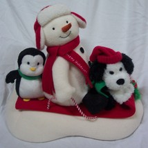 Hallmark Jingle Pals 2007 ANIMATED SNOWMAN W/ PENGUIN DOG ON SLED Plush ... - $24.74