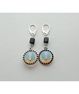 earrings milky light blue moonstone opalite and black onyx.  - $20.00