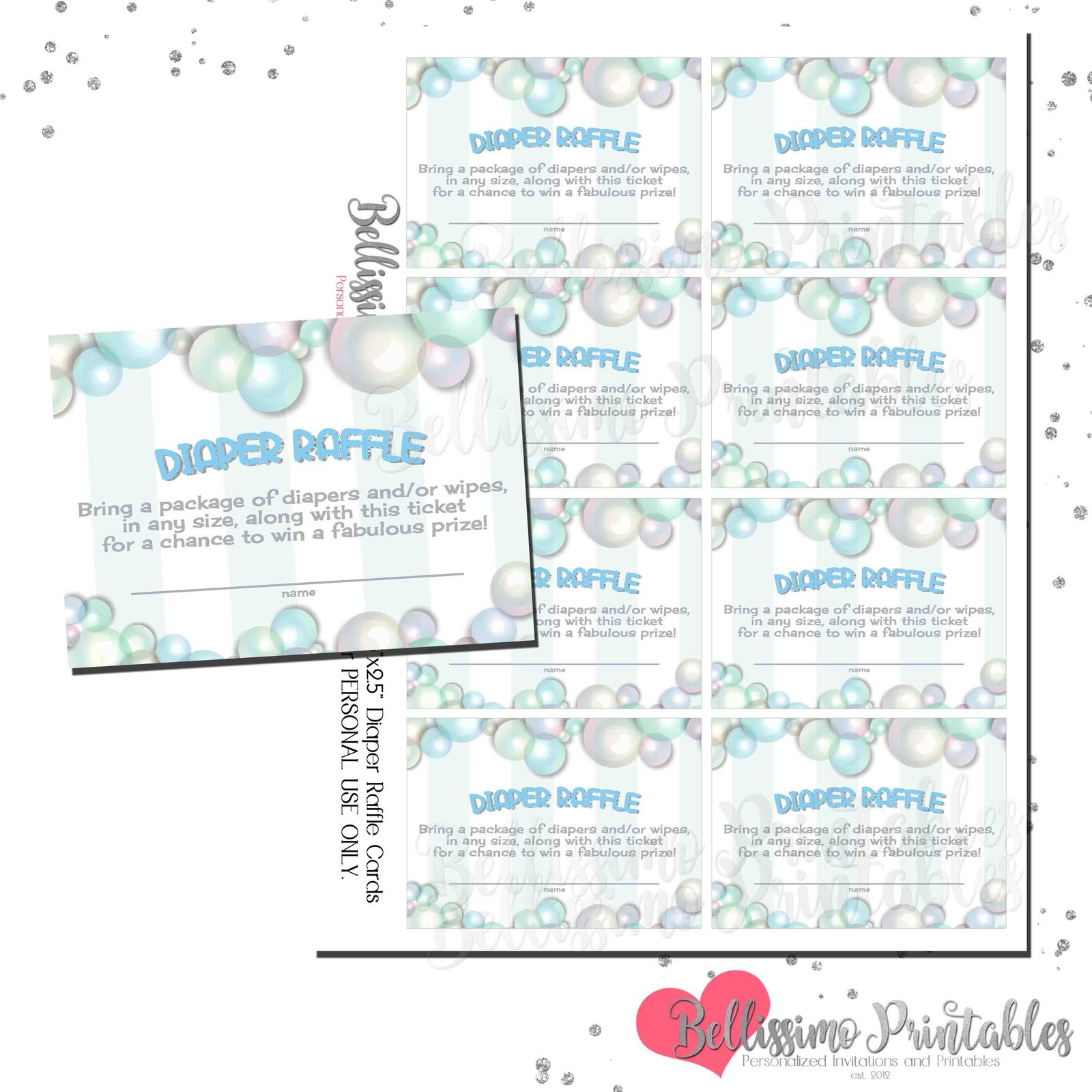 Rubber Duck BLUE Bubbles Diaper Raffle Cards Baby Shower INSTANT DOWNLOAD, used for sale  USA