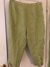 TALBOTS Womens Sz 14 Green Irish Linen Capri Cropped Pants Flat Front Lined - $15.98