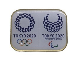 Tokyo 2020 Olympics Paralympics Emblem Pin Badge Square Not for Sale fro... - £18.07 GBP