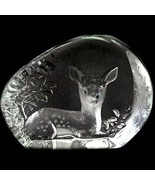 Swedish Etched Crystal paperweight Seated Woodland Fawn MATS JONASSON - $128.70