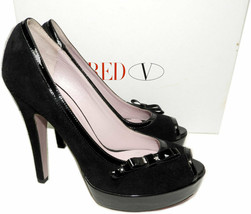 Red Valentino Bow Trim Platform Pumps Black Suede Peep Toe Shoes 38 - $159.00