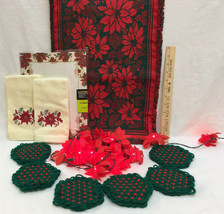 Christmas Table Runner Yarn Coasters Towels Poinsettia Lights Stationary... - $24.74