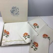 "Vtg Palmer Smith Linen Tablecloth Napkin Set 52"" Square White Daisy Embr... - $16.98"
