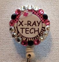 Xray Tech Badge Reel Id Holder Swarovski Pink Alligator Clip Handmade New - $10.99