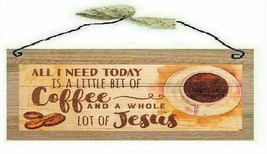 A Bit of Coffee & Whole Lot of Jesus Picture GOD Wooden Wall Hanging Sig... - $7.99