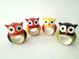 Set of 4 Colorful Ceramic Owl Napkin Ring Place Card Holders Fall Table ... - £9.45 GBP