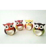 Set of 4 Colorful Ceramic Owl Napkin Ring Place Card Holders Fall Table ... - $13.00