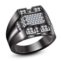 Solid 925 Sterling Silver Black Rhodium Finish Simulated Diamond Men's Band Ring - $85.64