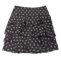 Ann Taylor LOFT Skirt Size 2 Black Multi-Color Knee Length Lined Ruffle ... - $16.19