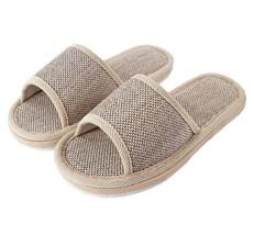 Breathable Flax Indoor Slippers Linen Hemp Casual Beach Floor Khaki Slip... - $110.99