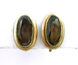 CC  Smoky BROWN GLASS EARRINGS Vintage 1/20 12KT Gold Filled Curtis Crea... - $14.99