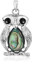 22 Mm Unique Owl Abalone Shell .925 Sterling Silver Pendant - $101.47