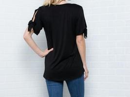 Cold Shoulder Top, Knotted Short Sleeves V Neck, Plus Size Tunics, Black image 5