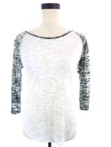 Semi Sheer White Green Burnout Raglan Top Shirt Small Medium - $18.00