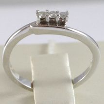 White Gold Ring 750 18k, Trilogy, 3 Diamonds Carat Total 0.08, with Wave image 4