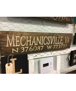 Mechanicsville,Va solid wood engraved longitude latitude  sign - $35.00