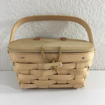 Longaberger 1998 Small Picnic Basket Swing Handle Classic Stain w Plastic Liner - $21.78