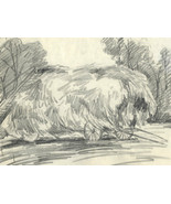 Marcus Adams - Early 20th Century Graphite Drawing, Hay Wain - $19.94