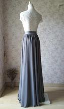 GRAY Chiffon Maxi Skirt Gray Bridesmaid Chiffon Skirt Wedding Party Plus Size image 4