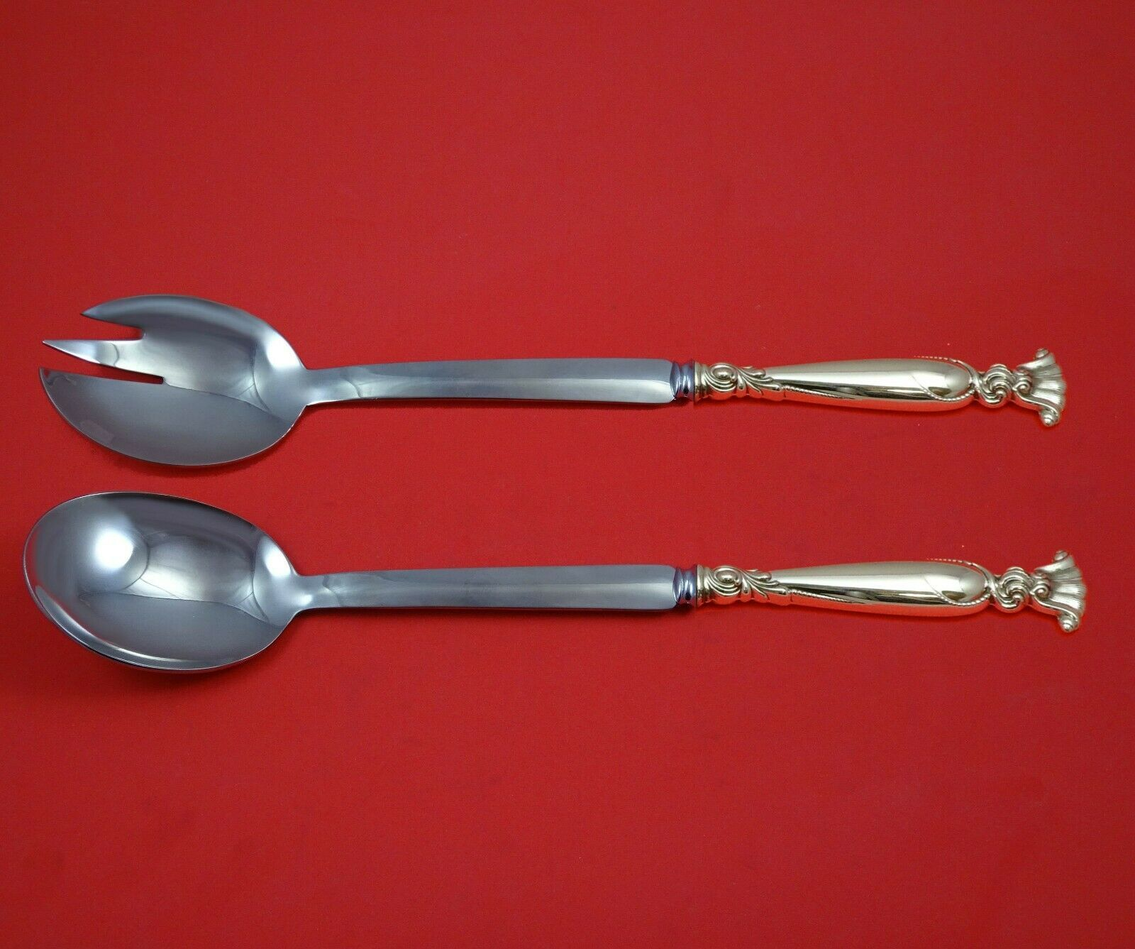 Primary image for Romance of the Sea by Wallace Sterling Silver Salad Serving Set Modern Custom