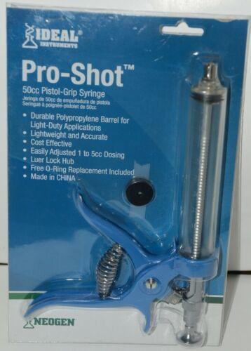 Neogen Ideal Instruments 1008 Pro Shot 50cc Pistol Grip Syringe Blue Clear