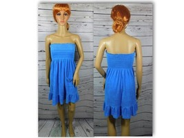Juicy Couture Blue Smocked Terry Cover Up Dress Size: Small