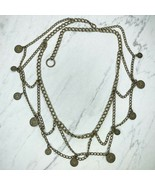 """Bronze Tone Coin Drape Belly Body Chain Link Belt One Size OS 40"""" - $14.70"""