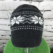 Unisex One Sz Hat Dark Gray White Nordic Floral Beanie Warm Winter Skull... - $14.84