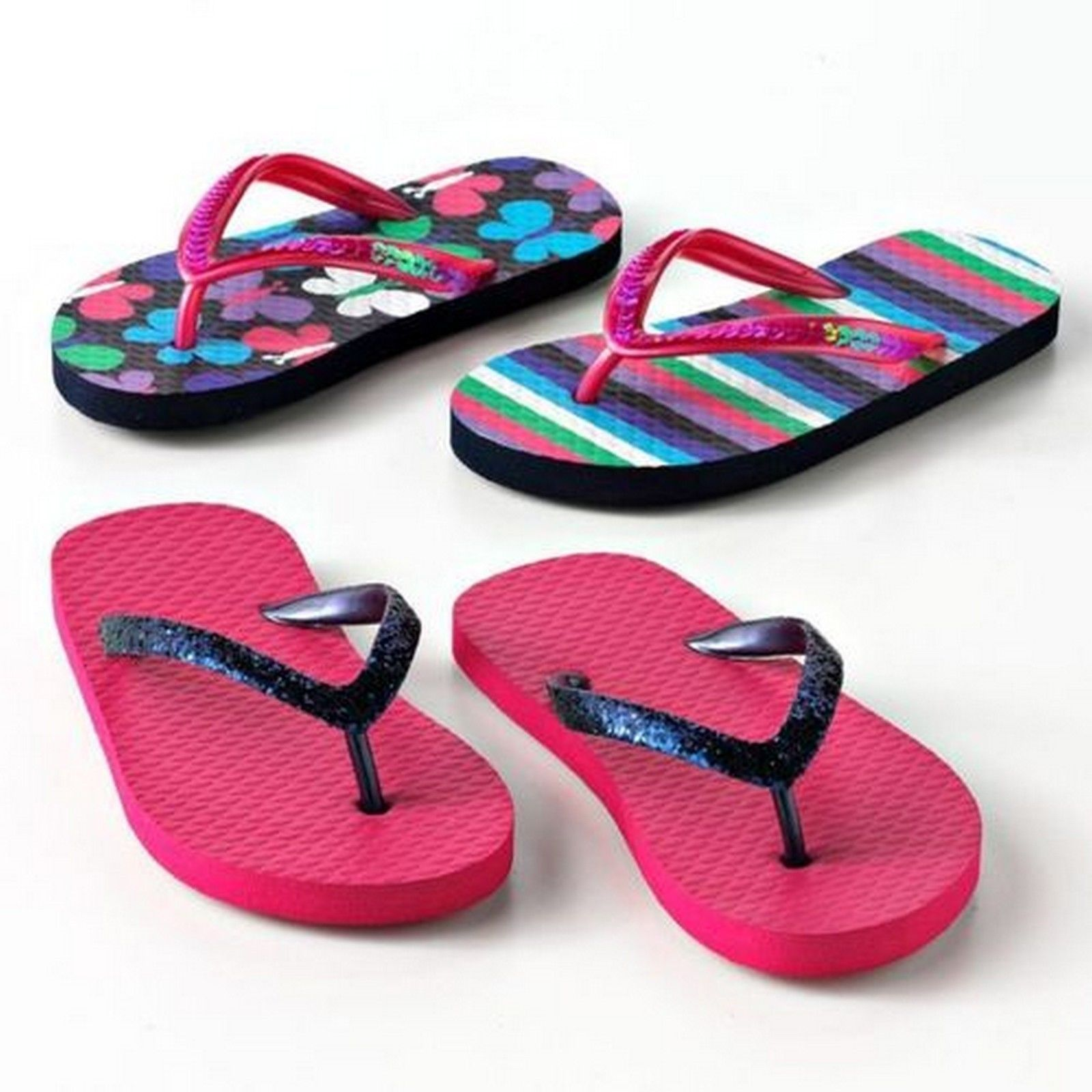 Jumping Beans Girls Flip Flops Beach Summer Sandals Shoes Set of 2