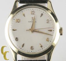 Omega ω Vtg Men's 14k Yellow Gold Hand-Winding Watch Leather Band men's ... - $1,966.68