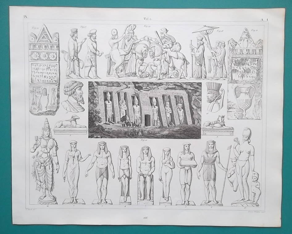 Primary image for ART of Middle East Egypt Persia Numibia Phoenicia India - 1844 Superb Print